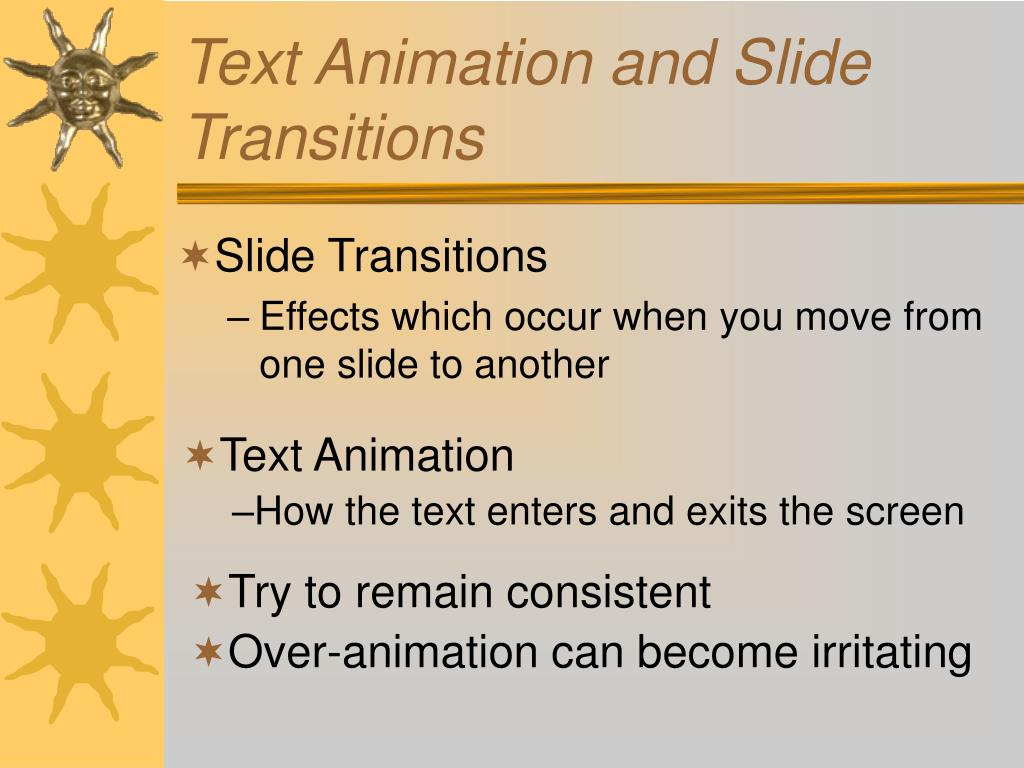 Text Animation and Slide Transitions
