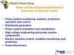 areas of educational and research activities in electric power