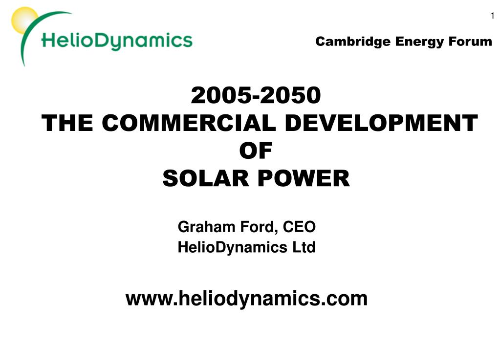 2005 2050 the commercial development of solar power l.
