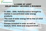 a chink of light solar energy becomes a business