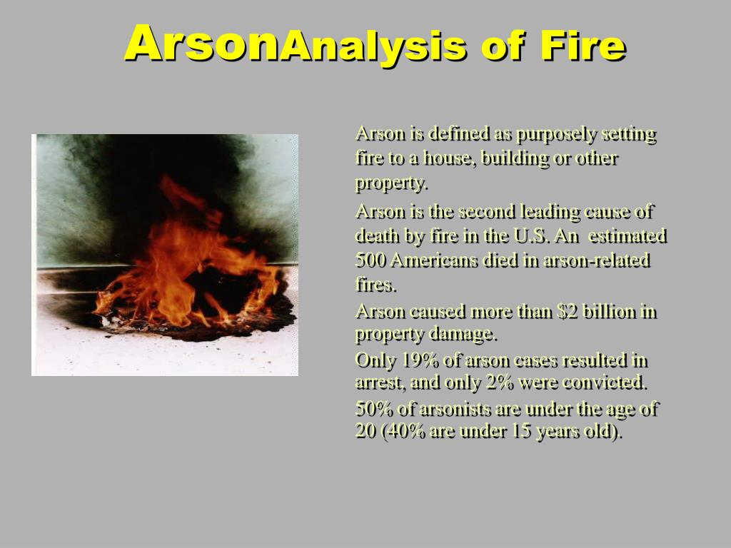 Arson is defined as purposely setting fire to a house, building or other property.