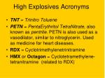 high explosives acronyms