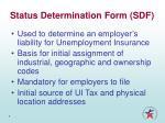 status determination form sdf