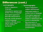 differences cont