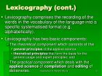 lexicography cont