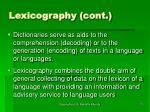 lexicography cont11