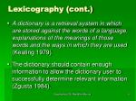 lexicography cont9
