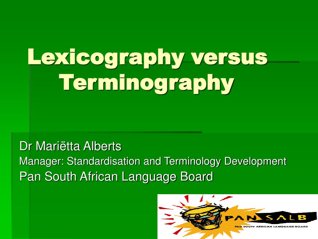 lexicography versus terminography l.