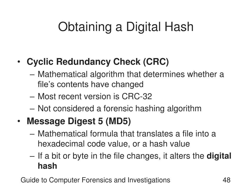 Obtaining a Digital Hash
