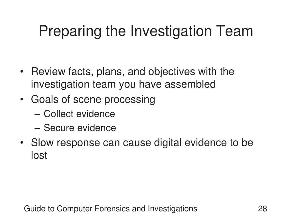 Preparing the Investigation Team