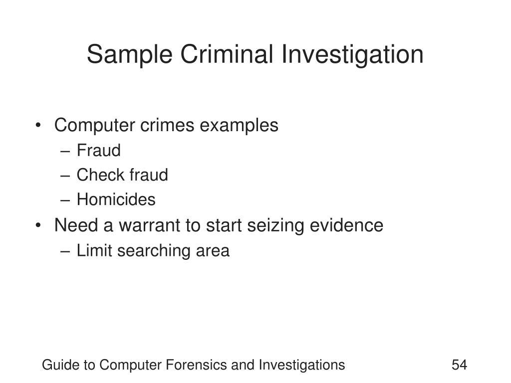 Sample Criminal Investigation