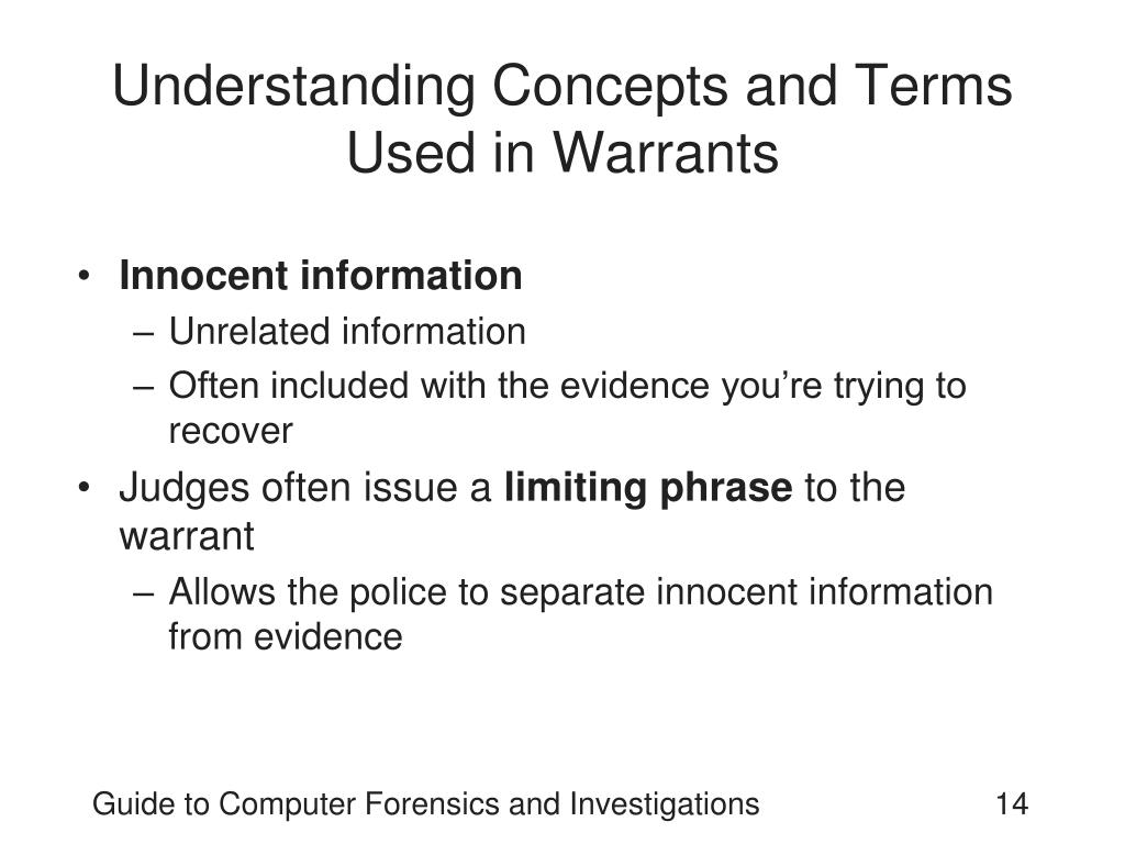 Understanding Concepts and Terms Used in Warrants