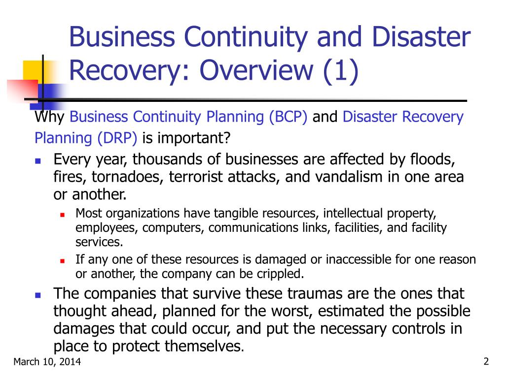 Business Continuity and Disaster Recovery: Overview (1)
