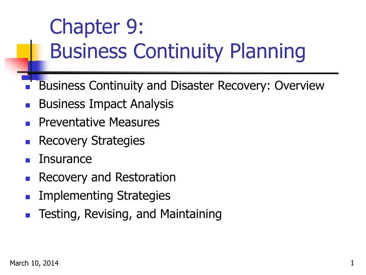 Chapter 9 business continuity planning