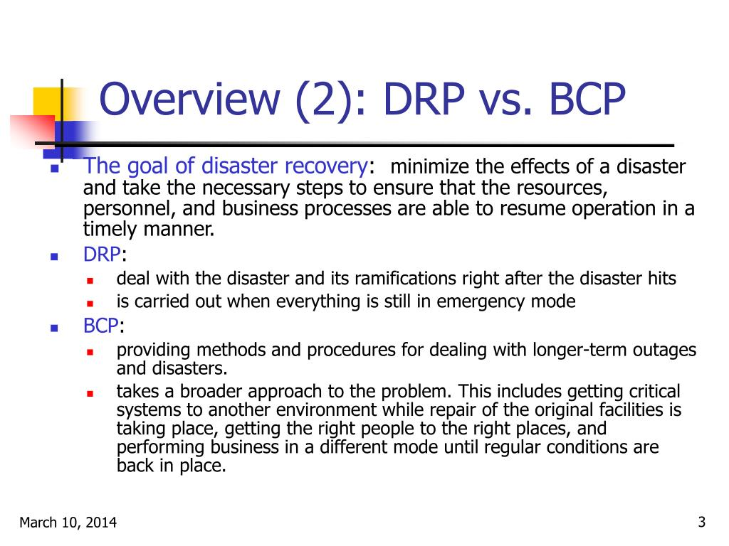 Overview (2): DRP vs. BCP