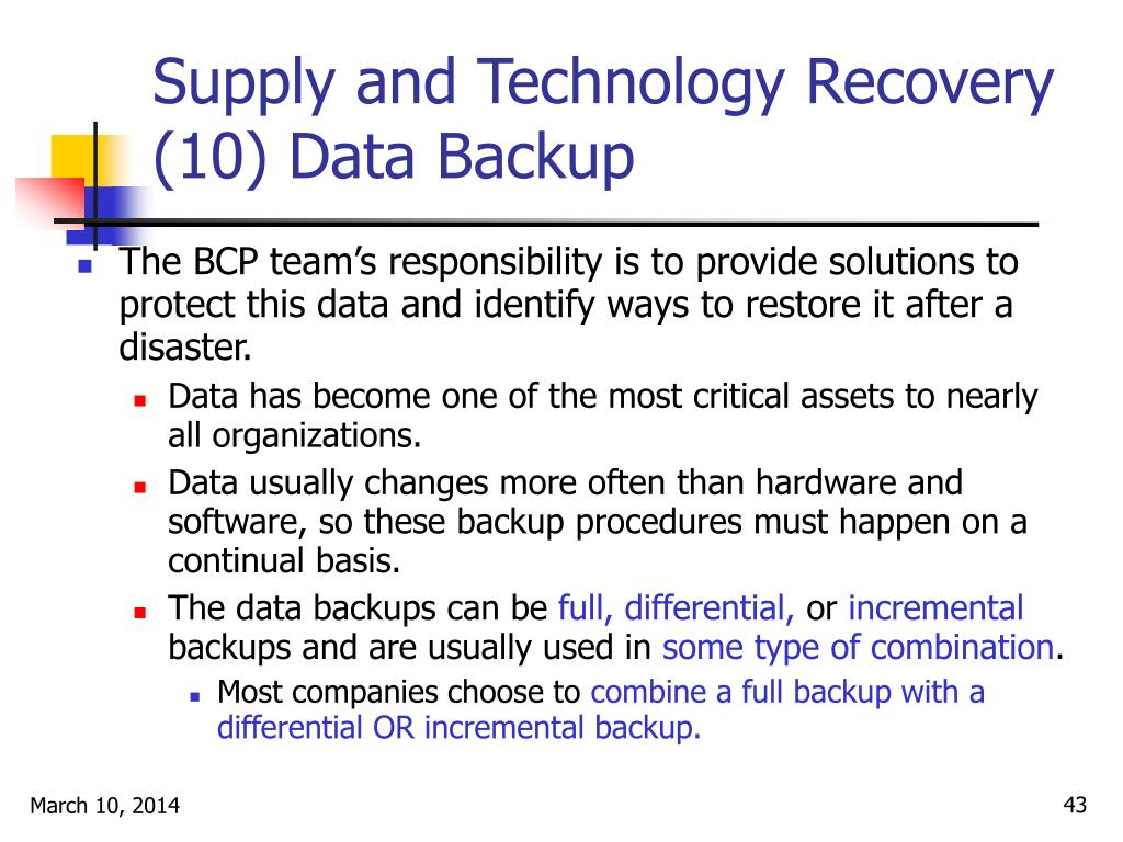 Supply and Technology Recovery (10) Data Backup