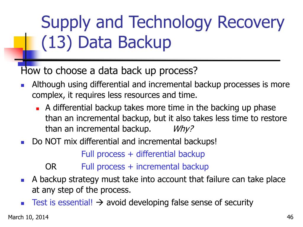 Supply and Technology Recovery (13) Data Backup