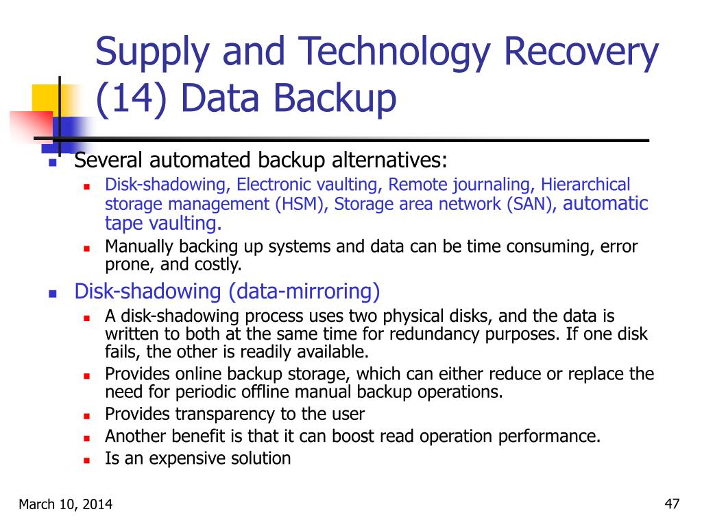 Supply and Technology Recovery (14) Data Backup