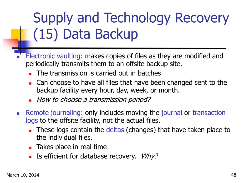 Supply and Technology Recovery (15) Data Backup