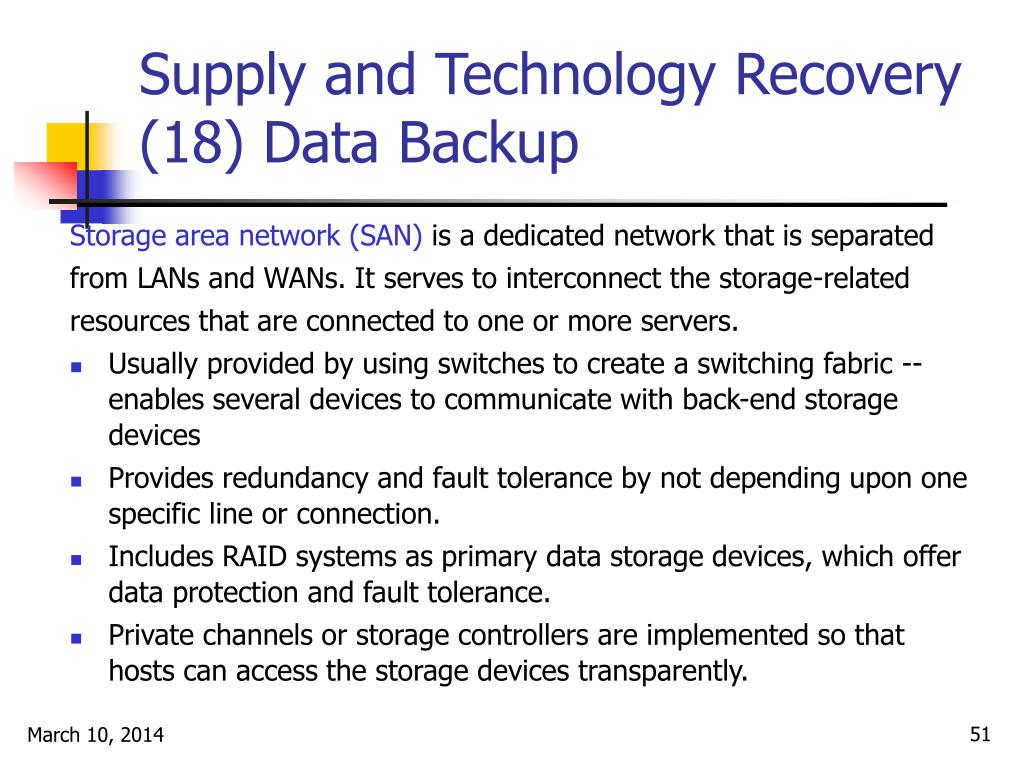 Supply and Technology Recovery (18) Data Backup