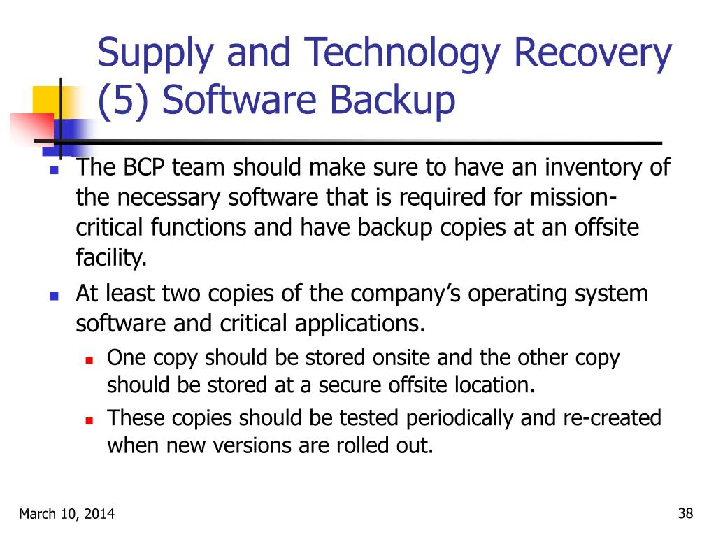 Supply and Technology Recovery (5) Software Backup
