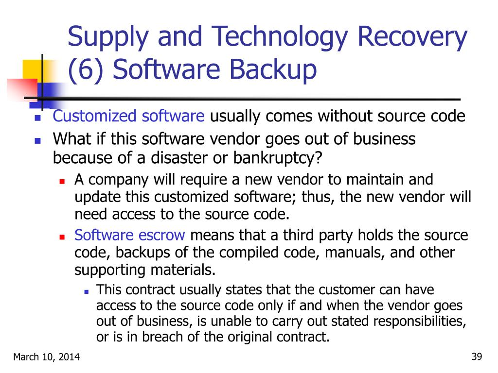 Supply and Technology Recovery (6) Software Backup