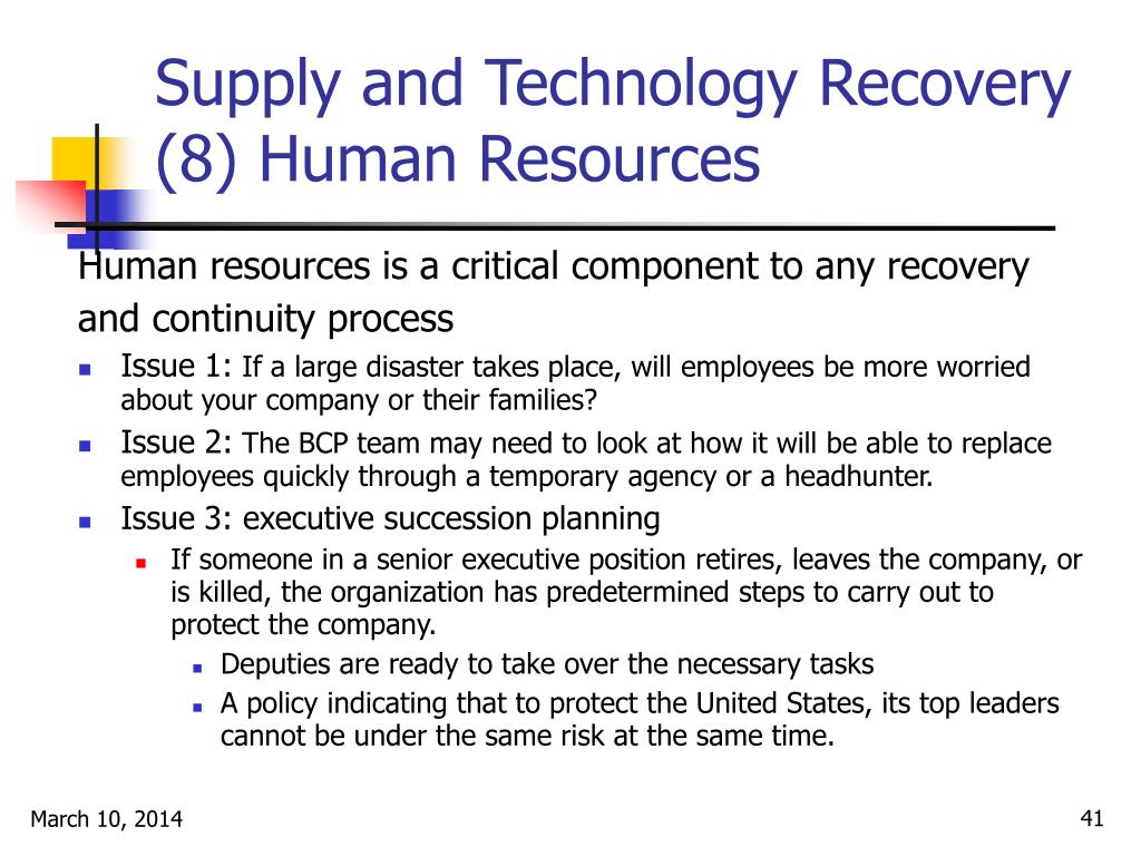 Supply and Technology Recovery (8) Human Resources