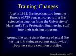 training changes