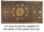 it is easy to see the medallion in the center of this carpet from iran