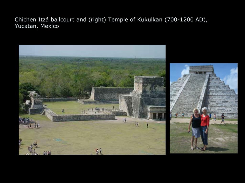 Chichen Itzá ballcourt and (right) Temple of Kukulkan (700-1200 AD), Yucatan, Mexico