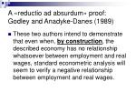 a reductio ad absurdum proof godley and anadyke danes 1989