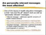are personally relevant messages the most effective