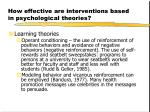 how effective are interventions based in psychological theories