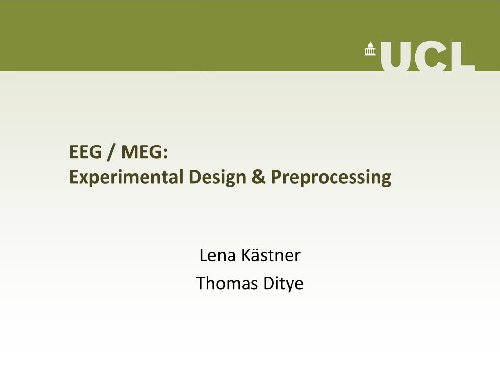 eeg meg experimental design preprocessing l.