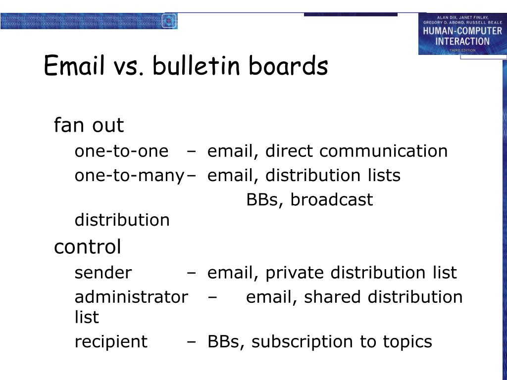 Email vs. bulletin boards
