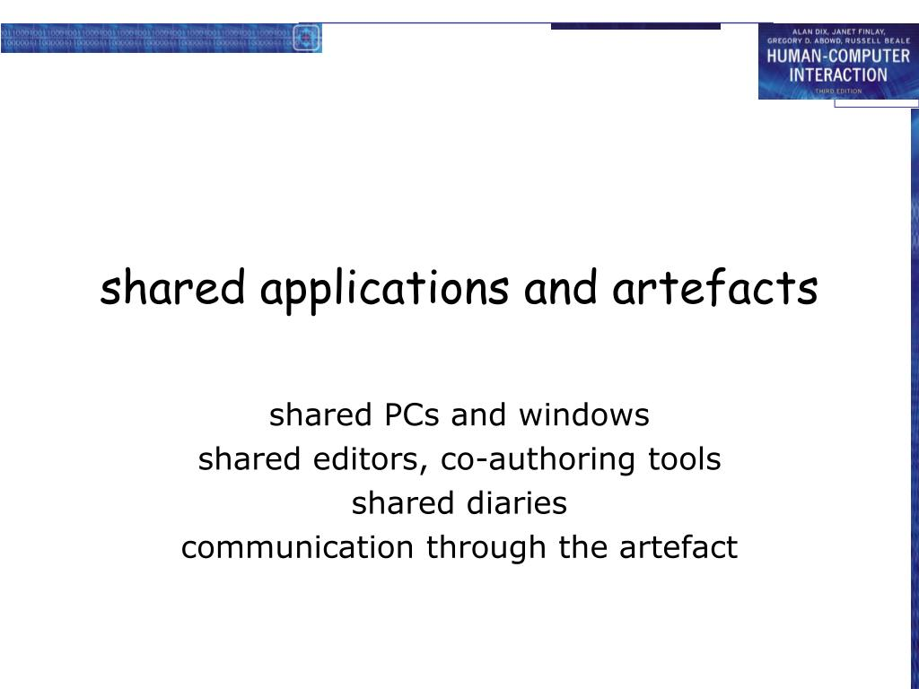 shared applications and artefacts
