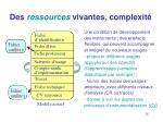 des ressources vivantes complexit