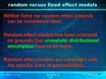 random versus fixed effect models