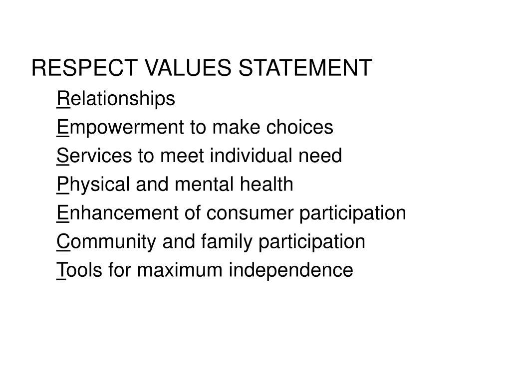 RESPECT VALUES STATEMENT