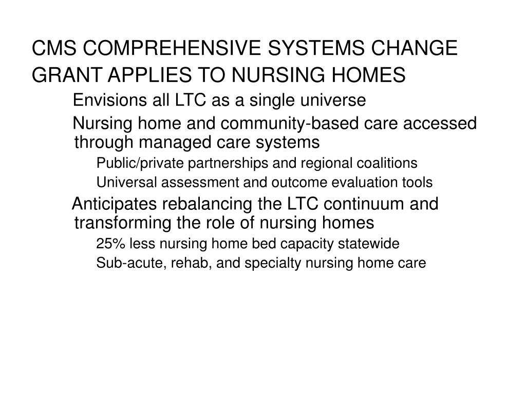 CMS COMPREHENSIVE SYSTEMS CHANGE