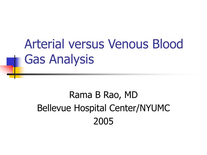 arterial versus venous blood gas analysis n.