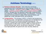 acid base terminology cont