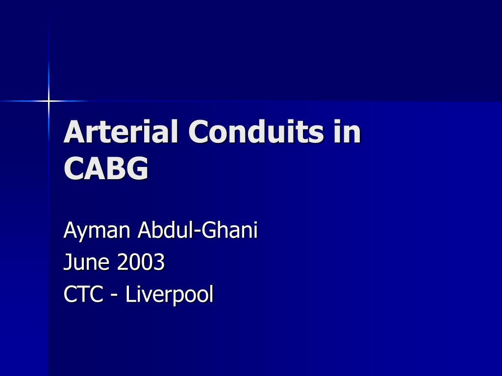 arterial conduits in cabg l.