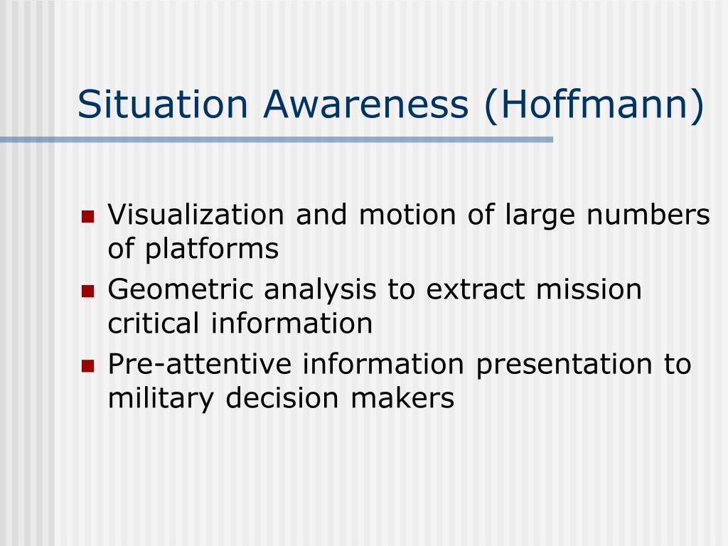 Situation Awareness (Hoffmann)