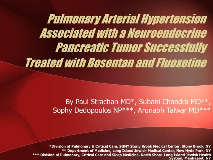 Pulmonary Arterial Hypertension Associated with a Neuroendocrine Pancreatic Tumor Successfully Treat...