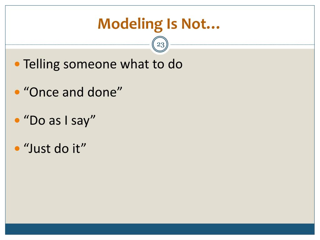 Modeling Is Not…