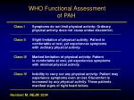 who functional assessment of pah