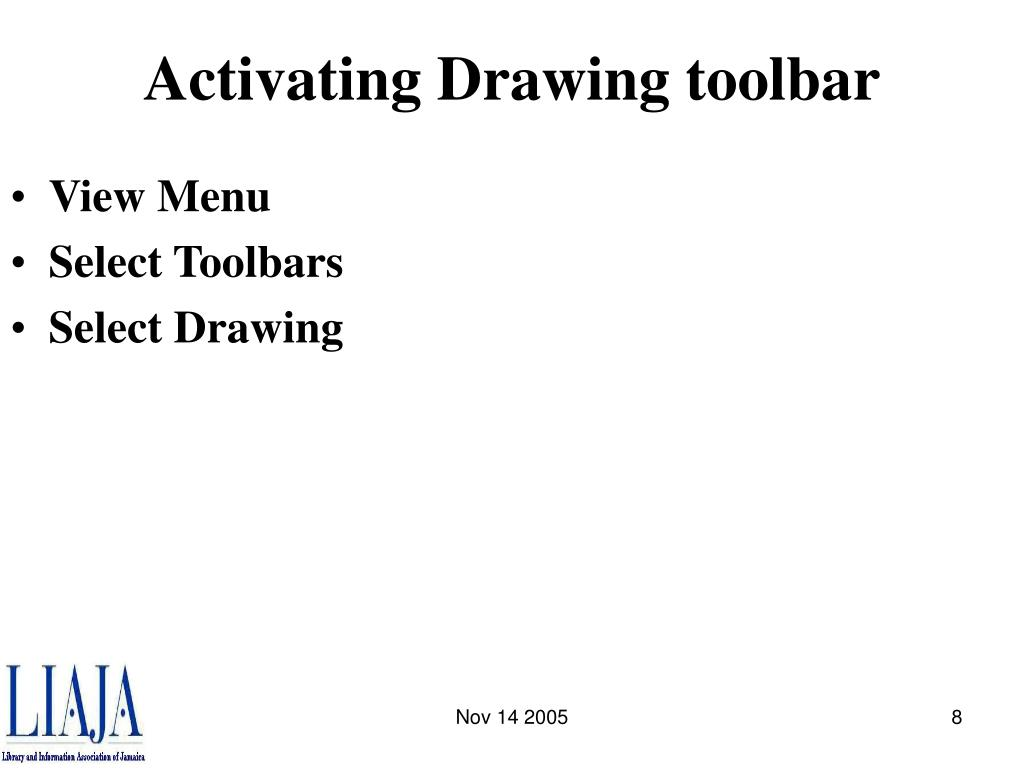 Activating Drawing toolbar