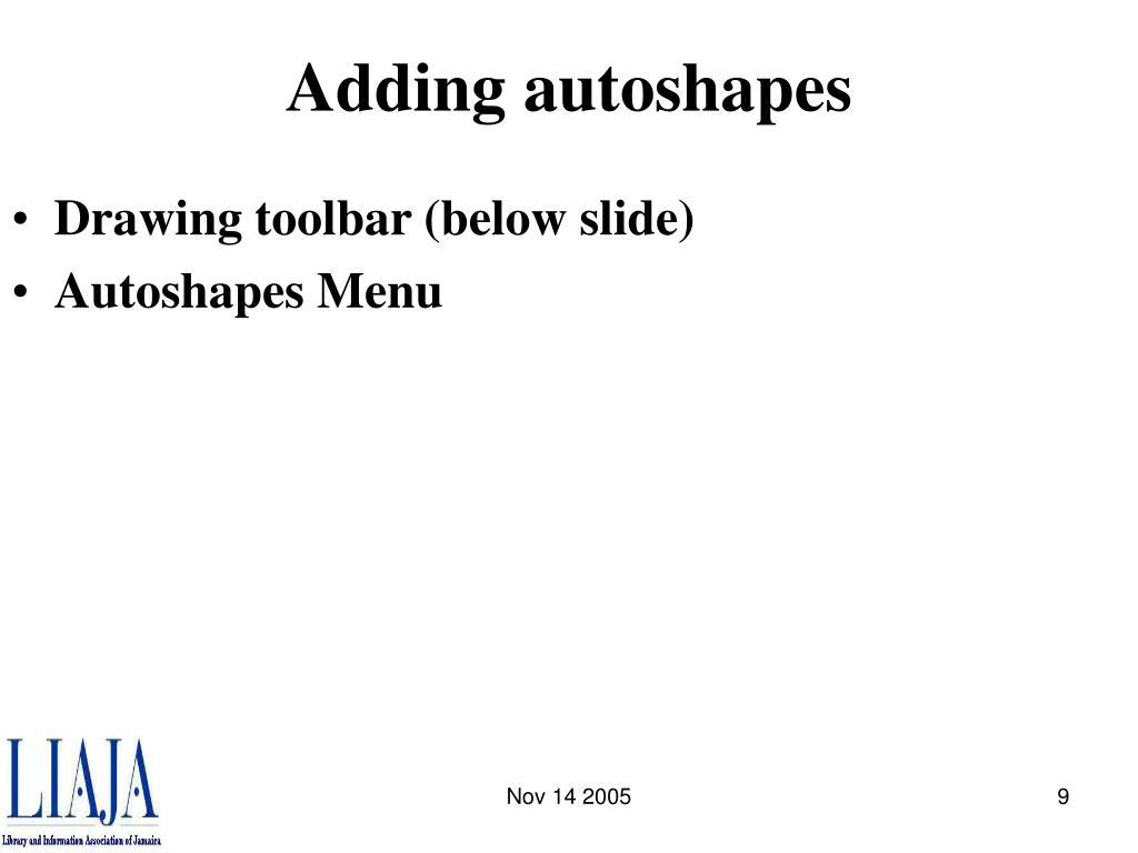 Adding autoshapes