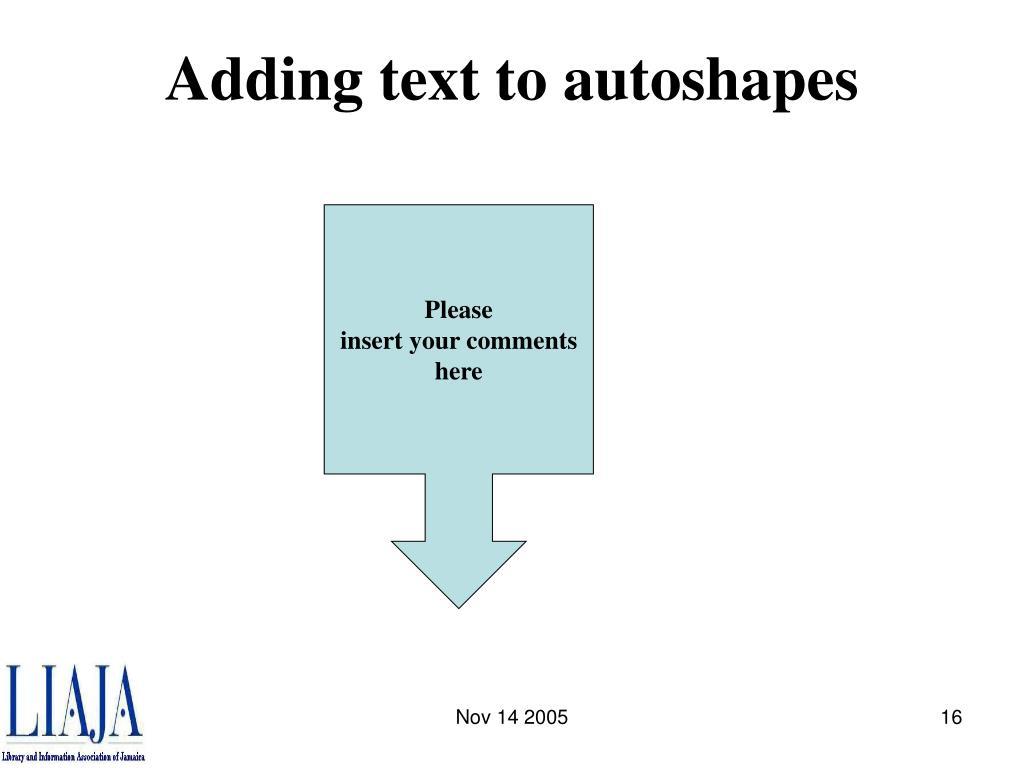 Adding text to autoshapes
